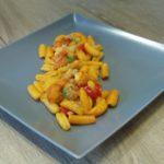 Daniele Cui: malloreddus con aglio, olio, peperoncino e bisque di scampi
