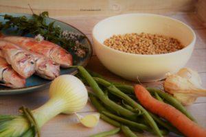 ingredienti per la minestra di fregula con triglie