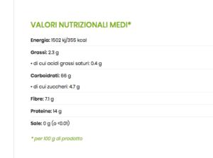 valori nutrizionali malloreddus integrali