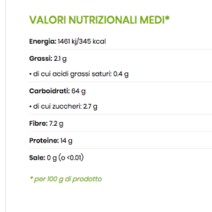 valori nutrizionali fregola integrale
