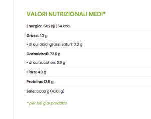 valori nutrizionali malloreddus tradizionali